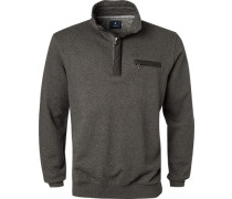 Pullover Troyer Baumwolle dunkelgrau