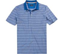 Polo-Shirt Polo, Baumwolle mercerisiert, azurblau gestreift
