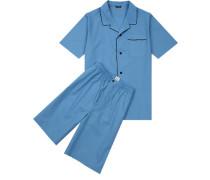 Schlafanzug Pyjama Baumwolle hellblau