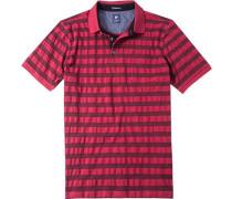 Herren Polo-Shirt Polo Baumwoll-Piqué rot gestreift