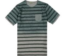 T-Shirt Baumwolle flaschengrün gestreift