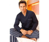 Schlafanzug Pyjama Baumwolle marine-weiß ,weiß
