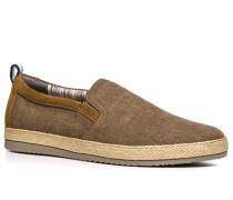 Herren Schuhe Slipper Canvas-Veloursleder braun