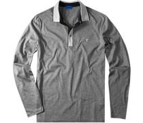 Herren Polo-Hemd Baumwoll-Jersey grau gestreift