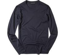 T-Shirt Longsleeve Baumwolle-Kaschmir dunkelblau
