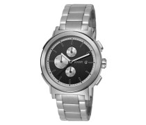 Herren Uhren  Chronograph Edelstahl silber-schwarz
