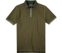 Polo-Shirt Polo Baumwoll-Piqué khaki gestreift