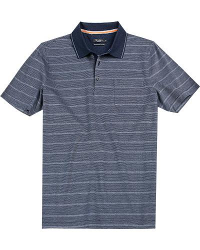 Polo-Shirt Polo, Baumwolle mercerisiert, rauchblau gestreift