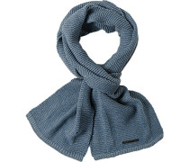 Schal Baumwolle-Wolle jeansblau-hellgrau