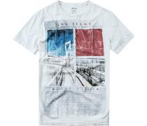 Herren T-Shirt Baumwolle hellblau weiß