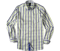 Herren Hemd Smart Cut Baumwolle hellgrün-blau kariert