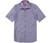 Herren Hemd Regular Cut Baumwolle blau gemustert