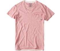 Herren T-Shirt Slim Fit Baumwolle rot gestreift