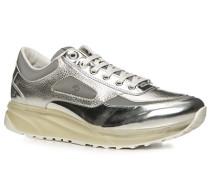 Schuhe Sneaker Leder silber