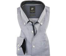 Hemd, Modern Fit, Strukturgewebe, -weiß gemustert