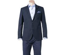 Sakko Modern Fit Baumwolle-Schurwolle nachtblau meliert