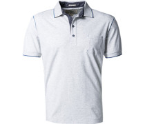 Polo-Shirt Baumwoll-Jersey hellgrau meliert