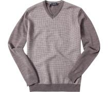 Pullover Merinowolle extrafein greige-ecru gemustert