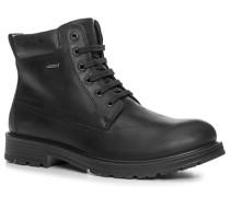 Herren Schuhe Schnürstiefeletten Leder wasserdicht schwarz