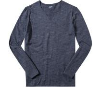 Herren Pullover Baumwolle marine meliert blau
