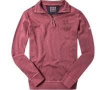 Pullover Sweater Baumwolle bordeaux meliert