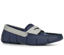 Schuhe Loafer, Microfaser wasserabweisend, navy-hellgrau