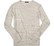 Pullover Baumwolle hellgrau-off white meliert