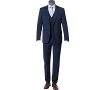 Anzug mit Weste, Modern Fit, Schurwolle Super100 Marzotto, marine