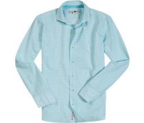 Hemd, Popeline, weiß-aqua gemustert