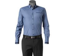 Herren Hemd Slim Fit Baumwoll-Stretch taubenblau