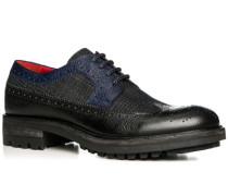 Schuhe Budapester, Leder-Textil, nero-azzurro
