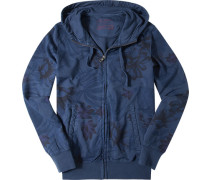 Sweatjacke Baumwolle rauchblau gemustert