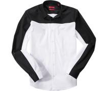 Herren Hemd Slim Fit Stretch-Popeline weiß-schwarz