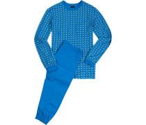 Schlafanzug Pyjama Baumwolle türkis gemustert
