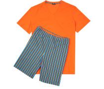 Schlafanzug Pyjama Baumwolle orange- gestreift
