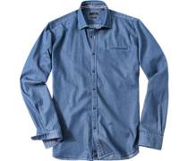 Hemd, Slim Fit, Popeline, jeansblau gemustert