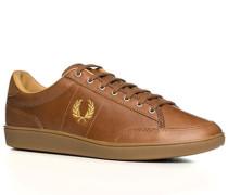Herren Schuhe Sneaker Glattleder cognac braun