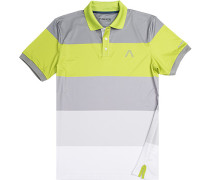 Polo-Shirt Polo Microfaser Drycomfort® lindgrün-grau gestreift