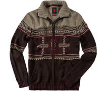 Herren strellson Sportswear Cardigan Gil-J Schurwoll-Mix dunkelbraun gemustert