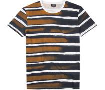 T-Shirt Baumwolle navy-braun gemustert ,braun