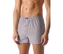 Herren Unterwäsche Boxer-Shorts Baumwoll-Stretch hellgrau-rot gestreift