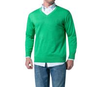 Herren Pullover Baumwolle grasgrün meliert