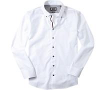 Herren Hemd Modern Fit Strukturgewebe weiß gemustert