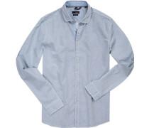 Hemd, Slim Fit, Popeline, -weiß gemustert