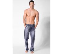 Schlafanzug Pyjamahose Baumwolle marineblau-weiß