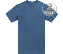 T-Shirts Regular Fit Baumwolle rauchblau meliert