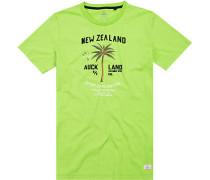 T-Shirt Baumwolle apfelgrün meliert