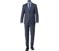 Anzug Regular Fit Schurwolle bleu meliert