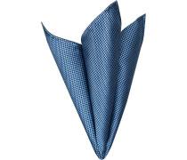 Accessoires Einstecktuch Seide capriblau-schwarz gemustert