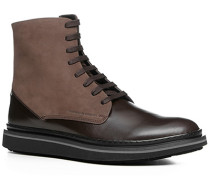 Herren Schuhe Stiefeletten Leder-Mix dunkelbraun braun,schwarz